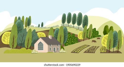 Farm in the countryside. Cottage among the trees.Ecologically clean area with blue sky and clouds.Vector illustration.