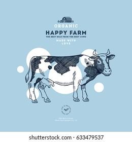 Farm cow design template. Cow illustration. Vector illustration