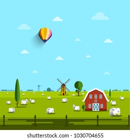Farm with Cows on Field. Vector Rural Scene.