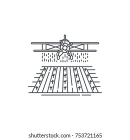 Farm crop duster above the field line icon. Outline illustration of plane  vector linear design isolated on white background. Farm logo template, element for agriculture business, line icon object.