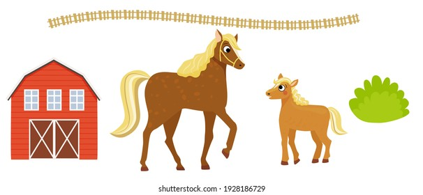 Farm. Cute horse and foal. Mother and baby. Vector illustration in cartoon style