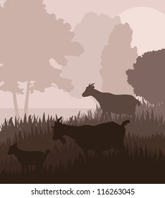 Farm dairy goats vector background in a field