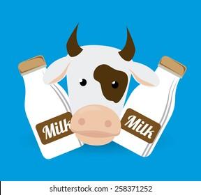 Farm design over blue background, vector illustration.