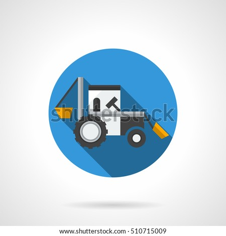 Farm Excavator Long Shadow Agriculture Industrial Stock