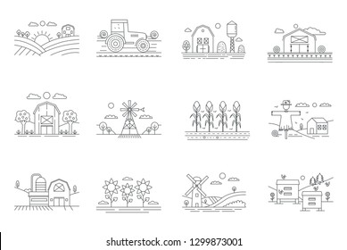 Farm and farming fields thin line icons isolated. Agriculture and Farming concept outline vector illustration.