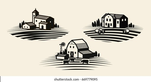 Farm, farming label set. Agriculture, agribusiness, farmhouse icon or logo. Vector illustration