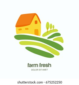 Farm and farming vector logo, label, emblem design. Isolated illustration of fields, farm landscape and rural house. Concept for agriculture, harvesting, natural farm, organic products.