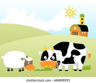 farm field with funny animals and barn, at summer, vector cartoon illustration