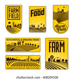 Farm field labels set of vector logos farming, yellow field with a barn, land and trees, badges with fields fermpeskie yellow badges isolated on white background, farm icon logo labels land, farm land