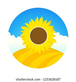 Farm field with Sunflower. Vector emblem round form of landscape with cartoon style with blue sky and sun flower.