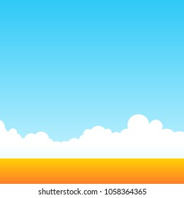 Farm field of wheat at clean daily sky. Rural outdoor landscape. Minimalistic vector illustration cartoon style.