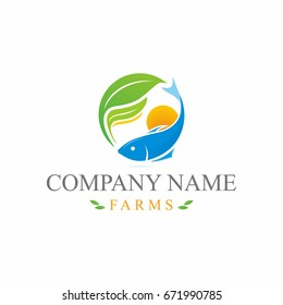 Farm fish leaf logo template