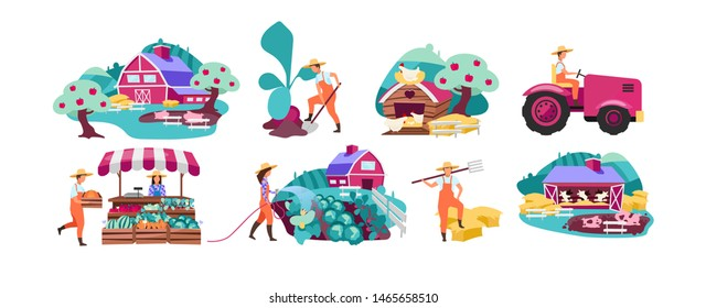 Farm flat vector illustrations set. Horticulture and vegetable gardening. Farmers market produce concept. Cattle, livestock and poultry farming. Agricultural plantation. Rural, village farmland