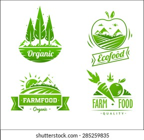 Farm food logos. Vector design illustration for web design development.