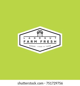 Farm food vector logo. Urban farm emblem