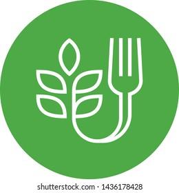 Farm To Fork Fresh Food Outline Icon