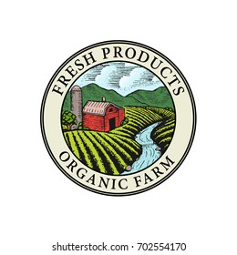 Farm Fresh badge illustration. Organic product sticker. Farmers Market emblem