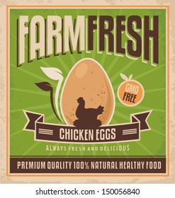 Farm fresh chicken eggs. Vintage label for premium quality 100 % natural healthy food. Vector design for gmo free organic products on old paper texture.