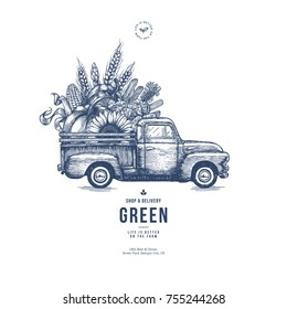 Farm fresh delivery design template. Classic vintage pickup truck with organic  vegetables. Vector illustration