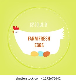 Farm fresh eggs background with hen, vector graphic illustration