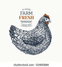 Farm fresh eggs design template. Engraved Chicken. Vector illustration