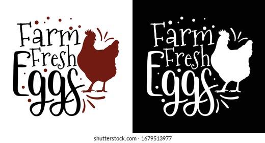 Farm Fresh Eggs Printable Vector Illustration
