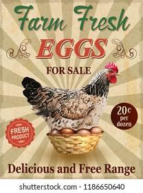 Farm Fresh Eggs vintage poster.