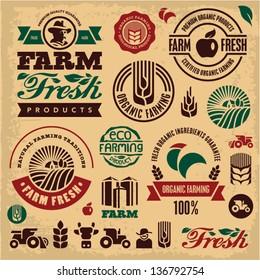 Farm fresh labels. Organic Farming isolated vector sign set. Farmer.