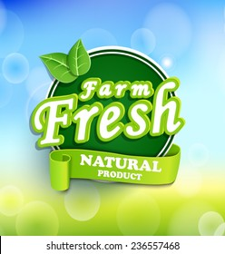 Farm fresh, organic food label, badge, vector.
