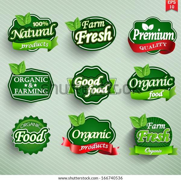 Granja fresca, etiqueta ecológica, placa o sello