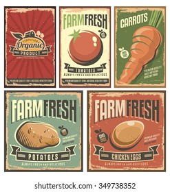 Farm fresh organic products retro tin signs collection. Gmo free delicious vegetables vintage poster set.
