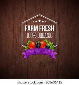 Farm fresh poster. Wooden background, typography design. Vector illustration.