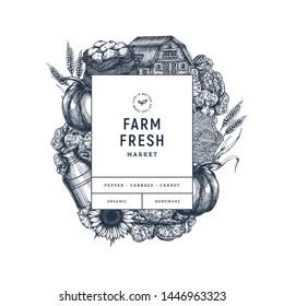 Farm fresh products design template. Vintage style organic vegetables, house, potato, pumpkin, sunflower, cabbage, wheat. Vector illustration