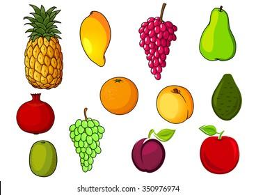 Farm fresh and ripe orange, red apple, pear, peach, grape, pineapple, kiwi, mango, plum, pomegranate, avocado fruits. Agriculture harvest or natural food design