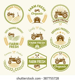 Farm fresh set of vector vintage colored labels, badges, emblems and stickers with tractor. Farming and agriculture, organic food, locally grown design elements for product packaging
