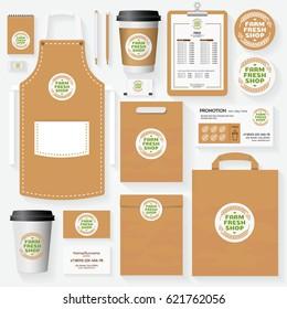 Farm fresh shop corporate identity template for use organic market, natural product, vegan shop, healthy food store, vegetarian cafe. Set of card, menu, package, uniform. Vector Illustration