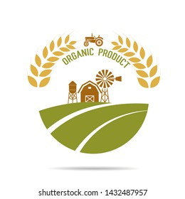 Farm fresh of vector emblems and stickers . Farming and agriculture, organic food, locally grown design elements for product packaging