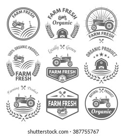 Farm fresh vector product labels, badges, emblems and stickers with tractor isolated on white background. Farming and agriculture, organic food, locally grown design elements for product packaging