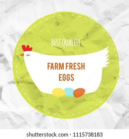 Farm fress agg eco label with the hen, vector graphic illustration