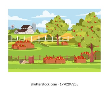Farm with fruit trees semi flat vector illustration. Fresh apple harvest in caskets. Garden outside ranch. Rural lifestyle, summer greenery. Farmland 2D cartoon landscape for commercial use