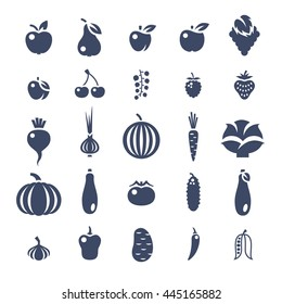 Farm fruits and vegetables flat silhouettes vector icons set. Organic healthy food symbols. Harvest infographic elements. Agriculture pictogram. Apple, tomato, pepper, cherry, berries, cucumber etc.
