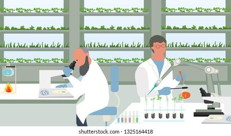 Farm of the Future vector concept. Organic Laboratory. Farmer checks his organic harvest at laboratory  field growth.  Vector illustration