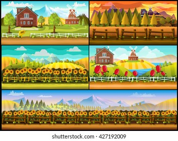 Farm Game Background Set