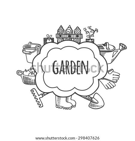Farm Garden Tools Sketch Bubbles Vector Stock Vector Royalty Free