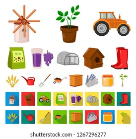 Farm and gardening cartoon,flat icons in set collection for design. Farm and equipment vector symbol stock web illustration.