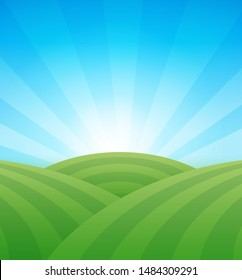 Farm green fields with hills under blue clear summer sky - Colorful vector agriculture illustration. Rural landscape with copy space.