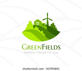 Farm green landscape and house logo. Conceptual icon for natural products, agriculture, bio and organic vegan stores,
