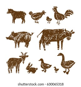 Farm hand drawn animals.Vector hand drawn illustration.
