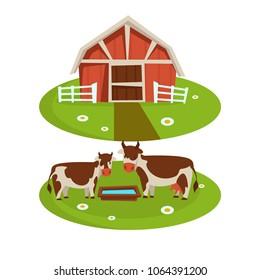 Farm house barn or farmer agriculture and cattle farming flat cartoon icons