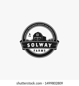 Farm House concept logo. Template with farm landscape. Label for natural farm products. Black logotype isolated on white background. Vector illustration. - Vector